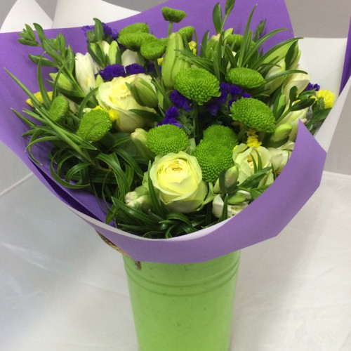Posy with Green Vintage Vase
